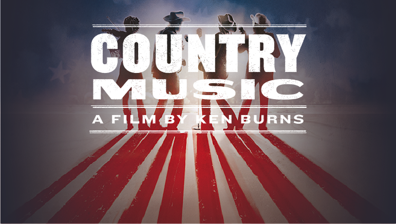 "Photo of four musicians in cowboy hats with text that reads, ""Country Music, A Film by Ken Burns"""