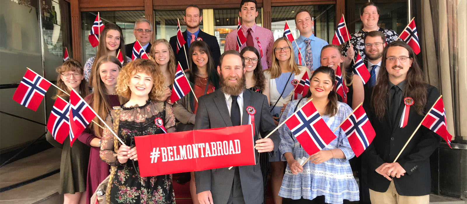 Belmont students pose for a photo in Norway